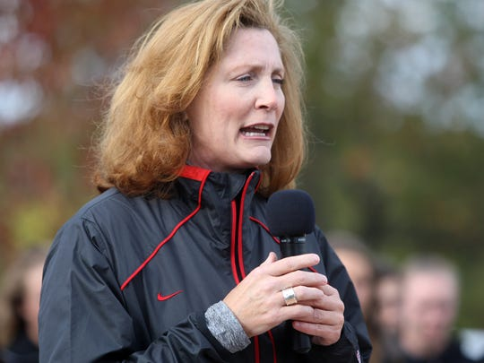 Rutgers athletic director Julie Hermann speaks at a groundbreaking ceremony for the Fred Hill Training Complex for baseball and softball, Saturday, October 24, 2015, on the Livingston Campus in Piscataway.
