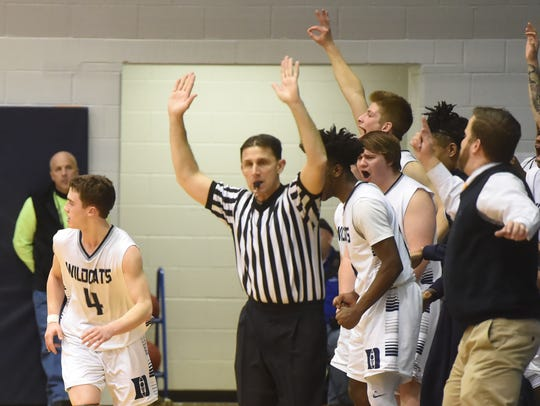 The Dallastown bench cheers on a three pointer by Brandon