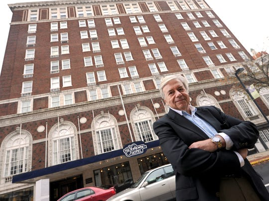Jack Kay, chairman of the York County Industrial Development Authority, stands in front of the Yorktowne Hotel, which the authority bought in 2015 for $1.8 million. The state awarded the IDA a $10 million grant to renovate the historic hotel.