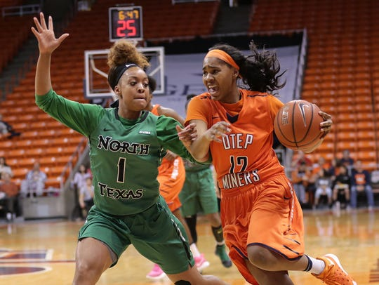 UTEP's Sparkle Taylor tries to overtake UNT's Tyara