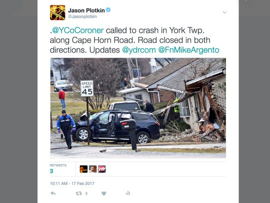 Tweet sent out during the fatal crash in York Township
