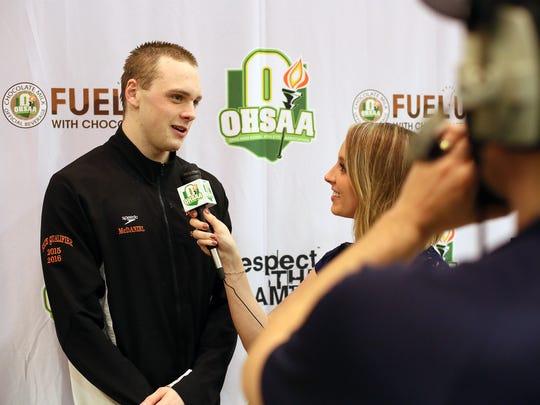 Ashland junior Hudson McDaniel gets interviewed for