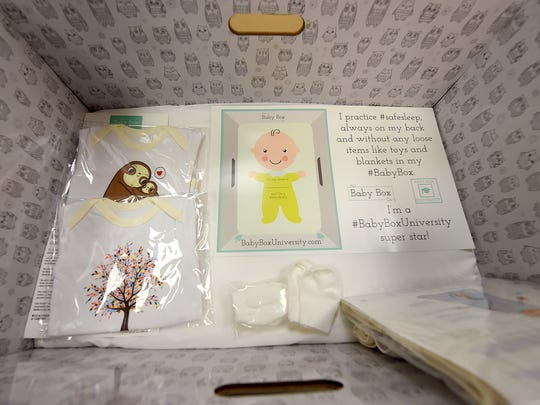 Family First Health received a grant to purchase 96 Baby Boxes, which they are offering as a safe sleep option to some new parents through the Nurse Family Partnership. The boxes come with gifts like onesies and bibs, but the box also contains a mattress that allows it to be used as a safe place for a baby to sleep.