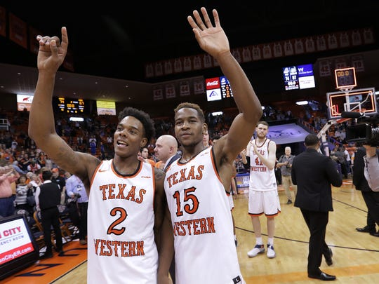 UTEP guards Omega Harris, left, and senior Dominic Artis wave goodbye to fans after their final home game of the season Saturday afternoon at the Don Haskins Center. UTEP beat Charlotte 74-67.