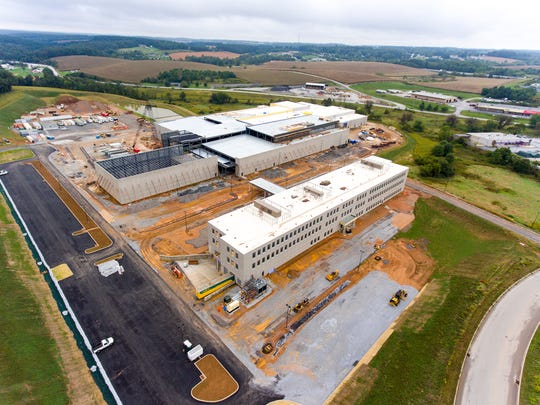 An image taken by an aerial drone shows construction of Johnson Controls' complex off Interstate 83 in Hopewell Township. The complex consists of two buildings spread over 57 acres.