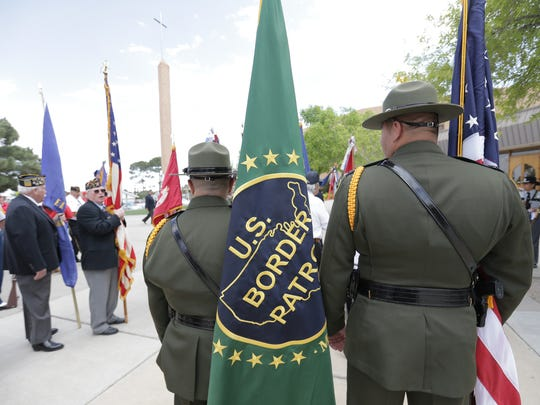 The U.S. Border Patrol color guard attended a Massing of the Colors event at St. Raphael Catholic Church in El Paso in April.