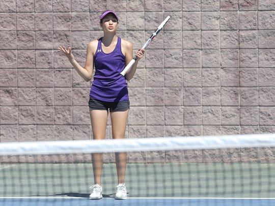 Franklin's Isabella Zambrano reacts after missing a shot Satuday on her way to winning the 6A district title over Coronado's Grecia Trujillo.