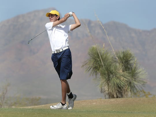 Eastwood High School's Noah Gutierrez tees off on the second hole at Painted Dunes Desert Golf Course during a golf tournament last April. El Paso Water owns and operates the 27-hole course in Northeast El Paso.