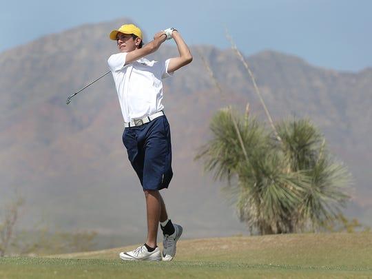 Eastwood High School's Noah Gutierrez tees off on the