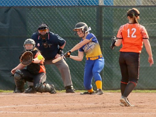 Philo sophomore Camber Revennaugh eyes a pitch from Ridgewood sophomore Sydney Zinkon Friday during the Generals' 5-4 victory.