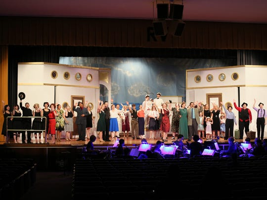 "River View High School students rehearse for the musical ""Anything Goes,"" which runs Friday and Saturday."