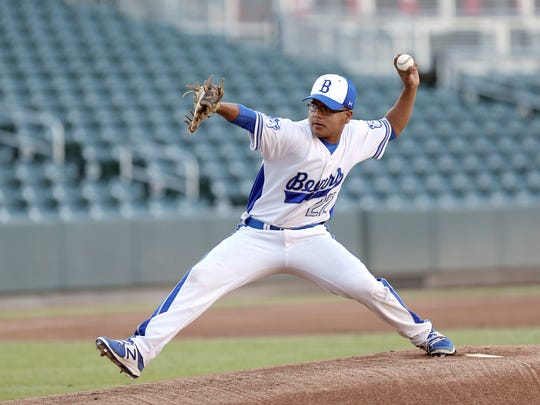 Bowie's Miguel Mata gets the start on the hill for