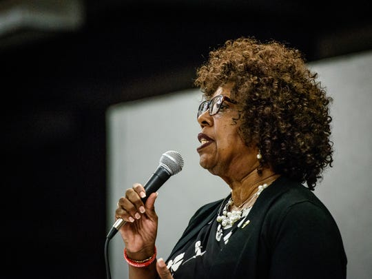 Judy Ritter-Dickson, whoo currently sits on the York City Council as an appointee replacing Carol Hill-Evans, answers a question during a candidate forum sponsored by the Alliance of Neighborhood Associations at Buchart Horn on Monday, May 1, 2017.