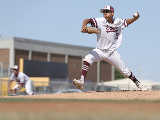 Andress pitcher Dominique Smith got the start for the Eagles in their 5A bi-district game against Parkland Friday.
