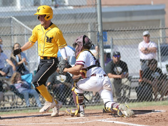 Parkland's Cody Young makes it home safe past Andress
