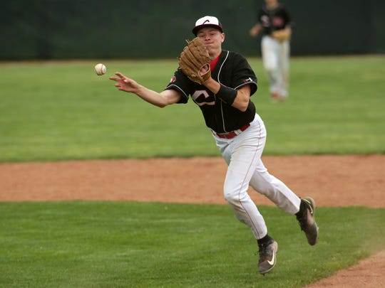 Coshocton senior David Edmunds makes a quick throw to first Tuesday during the team's 5-3 loss to Tusky Valley.