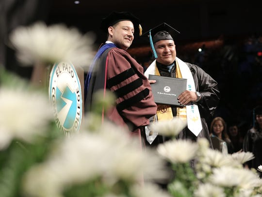 EPCC student Eric Palacios   receives his associate