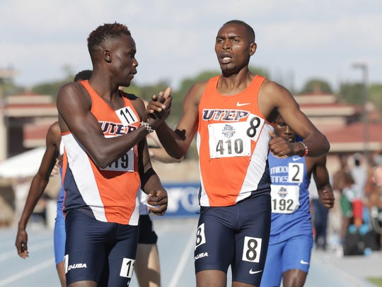 UTEP's Michael Saruni, left, and Jonah Koech finish