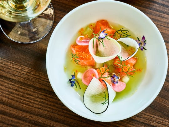 Sea trout crudo ($14) with radish and trout roe in