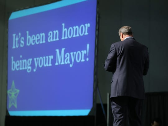 El Paso Mayor Oscar Leeser walks off stage after his final State of the City address in front of city employees only Tuesday at the Judson F. Williams Convention Center. Leeser wanted to thank city employees for the successes and improvements in El Paso since he took office.