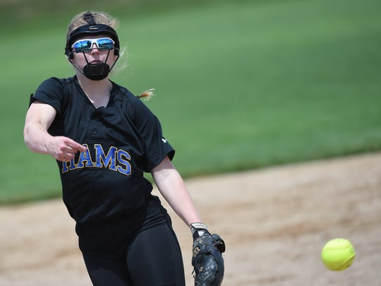 Kennard-Dale's Alexis Hurley was the starting pitcher during the Rams' 5-0 defeat of West York on Friday, May 26, 2017.