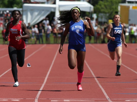 St. Peter's Alysse Wade broke her own school records in the 100 and 200 dashes over the past two weeks en route to winning three gold medals in the state meet.