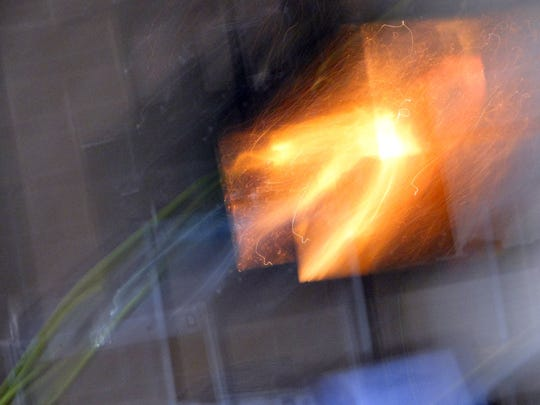 A flash of fire in a box occurred in a fraction of a second when grain safety specialist Jim Nolte suspended some particles of dust in a mock-grain facility explosion.  The demonstrated illustrated how fast explosions can occur when all the conditions are in place.