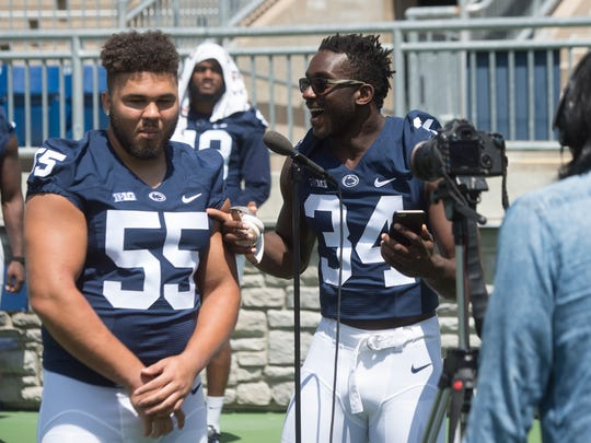 Penn State redshirt freshman Shane Simmons, right, may be the Lions' next great defensive end. But who will ultimately join him in the recruiting class of 2018? That's one spot the Lions still hope to fill.