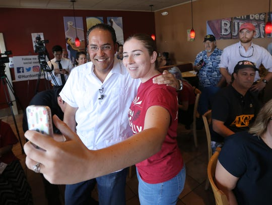 Gabee Lepore takes a photo with U.S. Rep. Will Hurd
