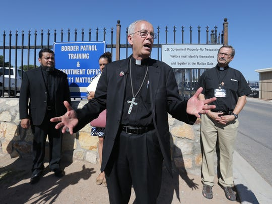 Catholic Diocese of El Paso Bishop Mark Seitz talks to members of the media outside the ICE Detention facility in El Paso concerning a woman who may be deported while her daughter is battling cancer at El Paso Children's. The group secured a stay from immigration officers while her case moves forward.