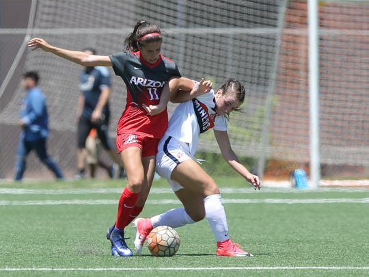 UTEP's Vic Bohdan battles Arizona's Morgan McGarry for possession during their exhibition game Aug. 13 at University Field.