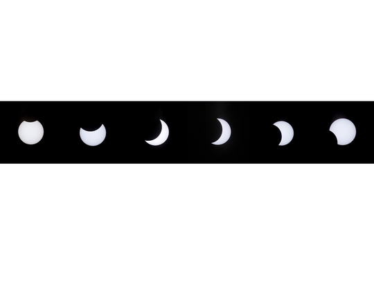The solar eclipse as seen Monday over El Paso. While some parts of the country saw a full solar eclipse, El Paso saw a partial eclipse that reached around 60 percent, which began at 10:24 a.m. and lasted until 1:16 p.m.