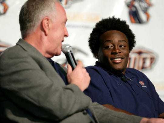 The voice of the UTEP Miners Jon Teicher, left, interviews