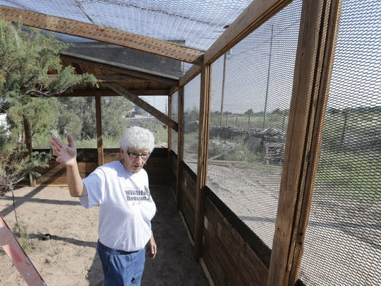 Josie Karam shows a new aviary being built at Second Chance Wildlife Rescue.