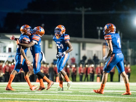 York High celebrates a touchdown at the end of the