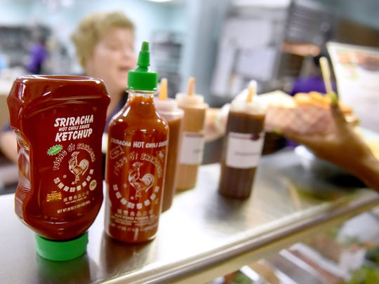 Spicy food and condiments, such as sriracha ketchup