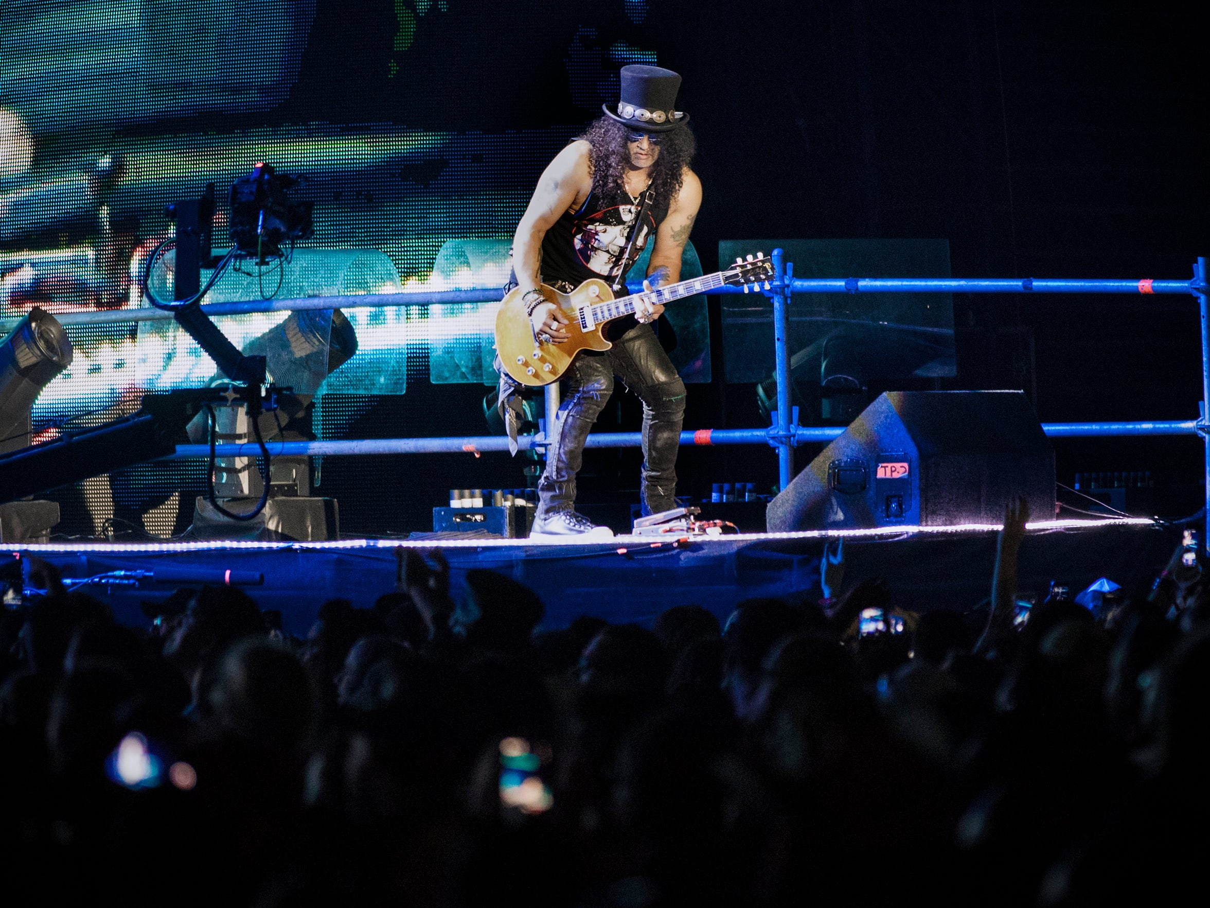 Guns N' Roses plays to a near sellout crowd at the Sun Bowl Wednesday. ZZ Top opened.