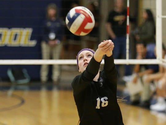 Franklin's Hannah Bokal digs a ball on Tuesday vs.