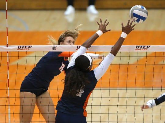 UTEP's Kylie Baumgartner hits around UTSA blocker Brianna