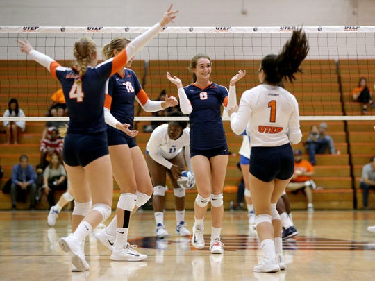 UTEP celebrates a point against Middle Tennesse Sunday
