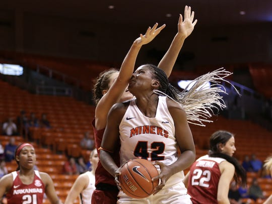 UTEP's Tamara Seda takes a forearm to the nose from