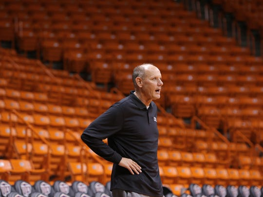 Phil Johnson runs his first practice as interim head basketball coach Tuesday at UTEP after head coach Tim Floyd abruptly retired after the Miners' loss to Lamar on Monday.