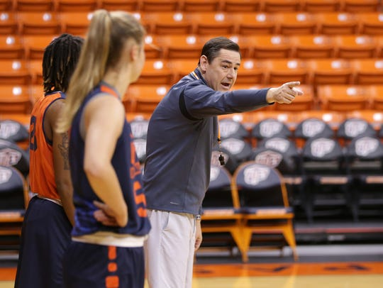 UTEP head coach Kevin Baker during a recent practice at the Don Haskins Center.