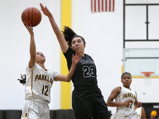 Hanks High's Valerie Hernandez is called for a foul