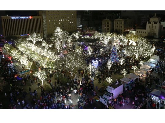 San Jacinto Plaza was officially lit Saturday during