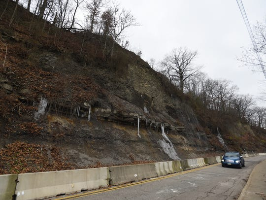 A vehicle traverses the troublesome stretch of Muskingum