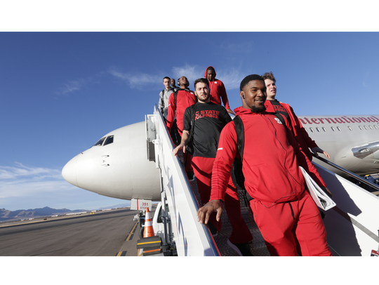 The North Carolina State football team arrives Monday