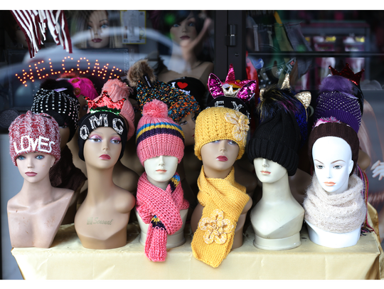 A store lures customers with cold weather accessories