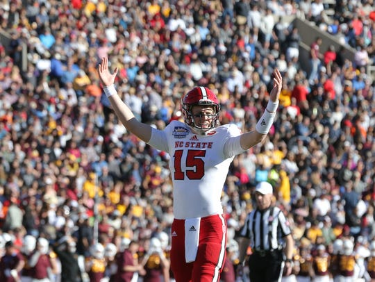 North Carolina State quarterback Ryan Finley looks
