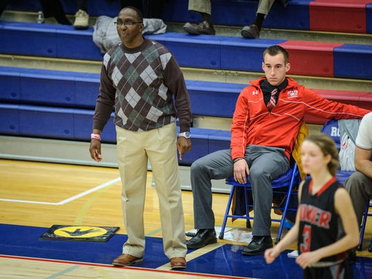 Chris Day, left, and Tyler Smith coach the Dover girls junior varsity team against Spring Grove in a YAIAA game on Wednesday, Jan. 3, 2018.